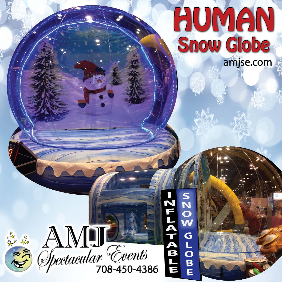 AMJ Spectacular-Events is A Moon Jump 4U heres the inflatable Human Snow Globe Christmas Rentals4U