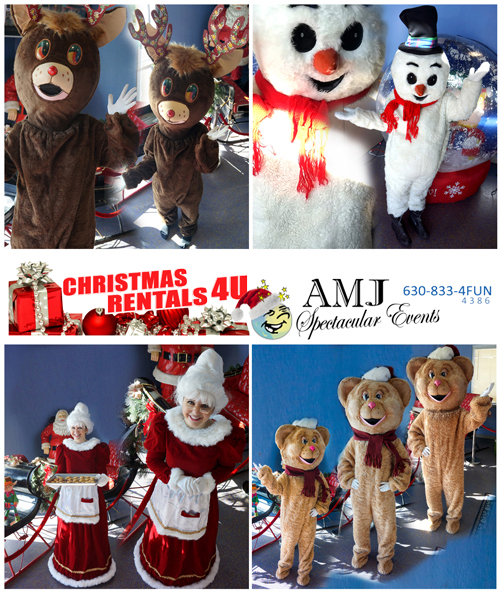 Christmas rentals, Holiday party rentals, Holiday Trackless Trains, Christmas Santa costumes rentals, inflatables, Santa costumes & Santa actors from Christmas, Mrs Claus Holiday Rental Costume, Christmas Bear Holiday Rental Costume, Christmas Bear Holiday Rental Costume, Snow Man Holiday Rental Costume, Christmas Rentals for Family Parties, School Events, Corporate & Municipal Holiday Events from AMJ Spectacular Events, A Moon Jump 4U