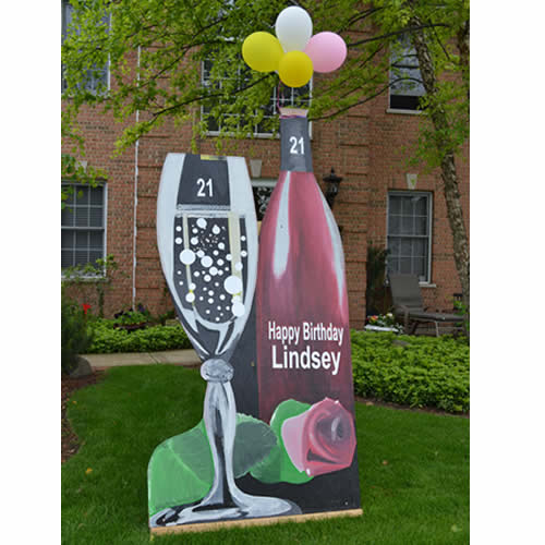 Rent Champagne Bottle + Glass Yard Sign For 21st Birthday