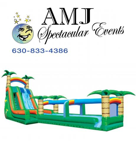 Tropical 22' Double Lane Inflatable Water Slide