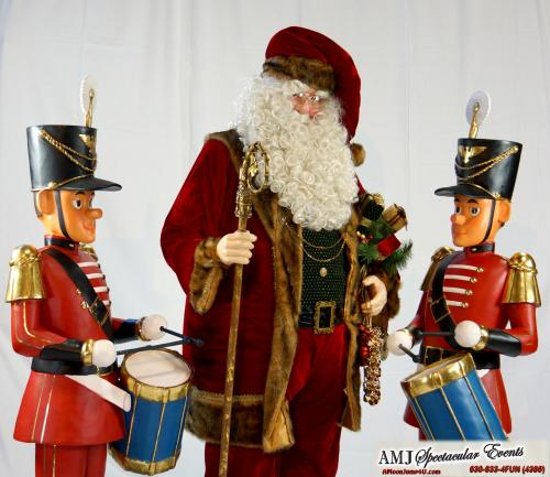 Santa statue, classic red velvet outfit Santa statue, Santa statue with rosey red cheeks, Santa statue with gold wire rimmed glasses, Santa statue with snow white beard