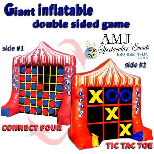 Giant Inflatable Double Sided Games 4U Tic Tac Toe & Connect Four