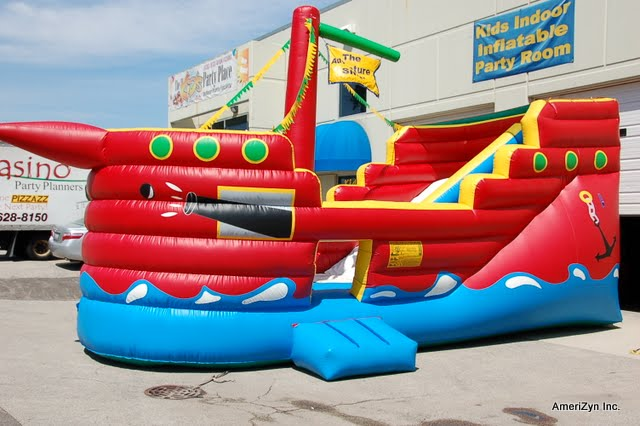 Pirate Ship Inflatable Slide & Obstacle Course Rental