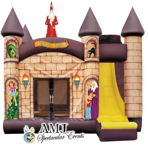Wizards Castle Inflatable Moon Jump + Wall Climb + Slide + B'ball Hoop Rental