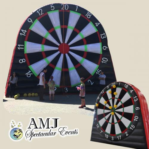 Giant Inflatable Dart-board and Soccer Kick Giant velcro target and velcro ball will stick right where it lands. This AMJ GIANT GAME rental has 3 game options and will be a test of basic skill bringing a fun-filled and on the mark event entertainment